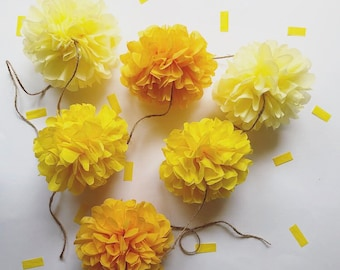 LEMON POP mini pompom garland twin baby bridal shower party high chair prop first birthday decorations yellow gold pastel nursery duck theme