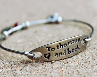 To the Moon and Back Bangle Bracelet / Gift for Mother / Gift for Girlfriend / Inspirational Bangle Bracelet / Charm Bangle Bracelet