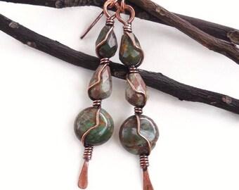 Green Opal earrings, earthy earrings, tribal earrings, wire earrings, bohemian earrings, wire wrapped jewelry, tribal jewelry, wire jewelry