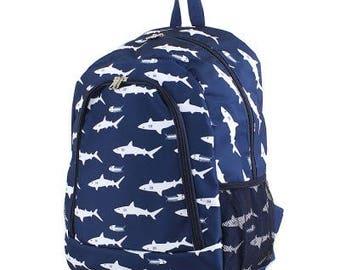 Monogram Shark Backpack, Personalized Backpack, Monogram Bookbag, Boys Backpack, Pink Backpack, Kids Backpack, School Backpack