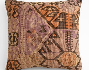 SALE! 16x16 Bohemian modern,Kilim pillow cover, Boho pillow, Home living, Vintage pillow, Home design, Decorative pillow, Turkish pillow