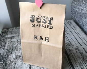 50x JUST MARRIED Kraft Wedding Favor Bags • Personalised Wedding Gift Bags • Rustic Wedding Favours • Candle Bags Can Be Table Decorations