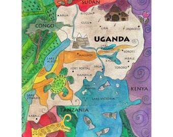 Uganda Map Fine Art Print