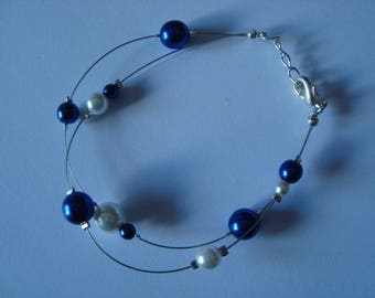 Cornflower blue and white bracelet