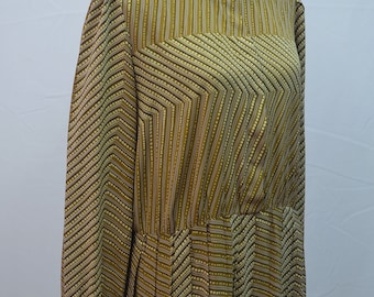 SALE 1980s Berkertex brown and white patterned dress with contrasting collar and cuffs