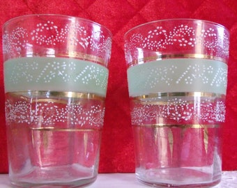 2 Antique Glass Tumblers ~ Enameled Optic Panel Glasses w/Green Stripe & Gold Ring/Trim ~ Vintage Victorian Water glass Rocks Glass Dining