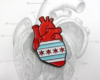 Chicago Flag Anatomical Heart enamel pin