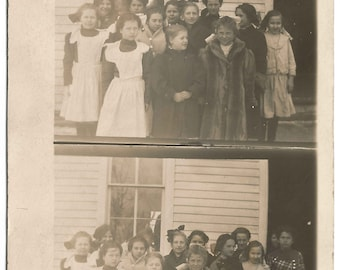 Class Photo Real Photograph Postcard 1908-1914 Stereoscope style Vintage Postcard 100 Years Old