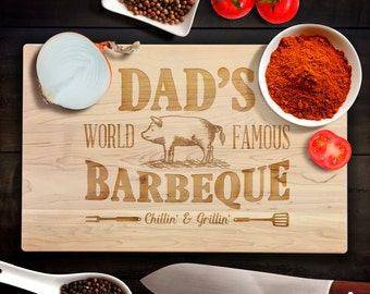 Wood Cutting Board Personalized BBQ Fathers Day Gift Dad Grill Dads World Famous Barbecue BBQ Laser Engraved Bamboo Cutting Board
