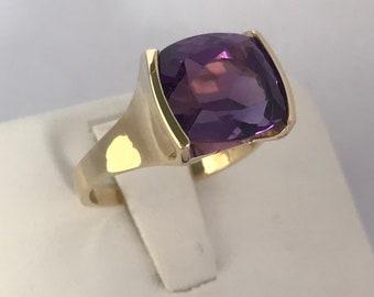 Amethyst Ring Set in 14K Yellow Gold