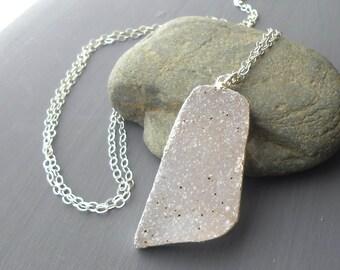 Long Triangle Druzy Pendant Necklace