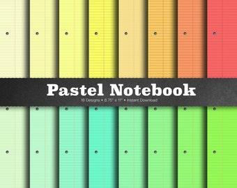 Pastel Notebook Paper - Digital Notebook Paper, Pastel Lined Paper, Ruled Notebook Paper, Colored Notebook Paper, Wide Ruled Paper, Journal