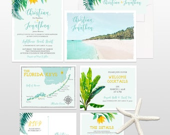 Florida Keys Key Largo Wedding Invitation Destination wedding watercolor style illustrated tropical wedding invitation Deposit Payment