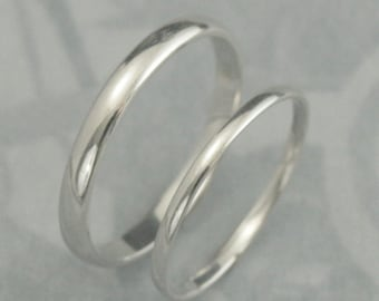 18k Wedding Bands—18K White Gold Rings—His and Hers Bands—Plain Jane Set—Men's Wedding Band—Women's Wedding Ring—3mm Wide and 1.5mm Wide