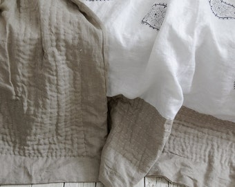 """Linen bedspread with embroidery, Hand-quilted 87""""x98"""" inch, Wabi-Sabi Linen Handmade Comforter/FREE SHIPPING"""