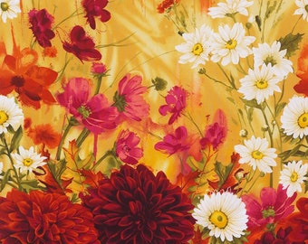 """Dahlia Panel by Chong-a Hwang from Timeless Treasures C4479 Mulit 24"""" x 42"""" - Free shipping U.S."""