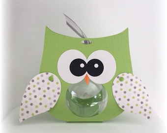 Box dragees OWL green OWL wings pattern green and gray ball plexi