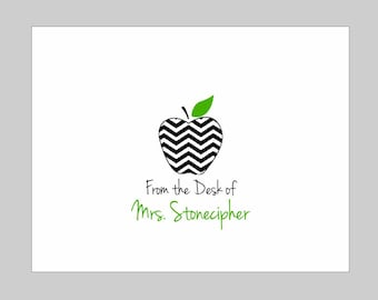 Personalized Chevron Apple Folded Note Cards // Personalized Teacher Gift