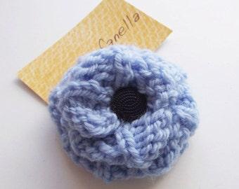 SALE - Knit button rose brooch blue rosette pin textile jewellery fiber art