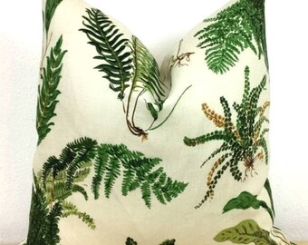 """Green Fern Botanical Print Pillow Cover - Schumacher """"Les Fougeres"""" Classic Print - Choose 1 OR 2 SIDED - Designer"""