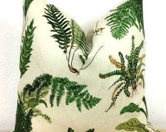 """Green Fern Botanical Print Pillow Cover - Schumacher """"Les Fougeres"""" Classic Print - Choose 1 SIDED OR 2 SIDED - Designer"""
