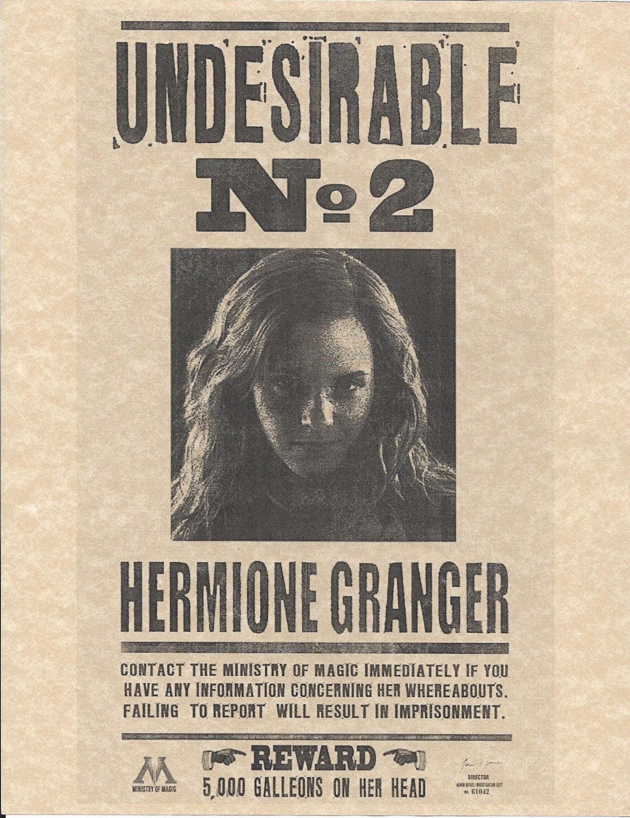 Harry potter undesirable number 2 hermione granger wanted zoom 1betcityfo Images