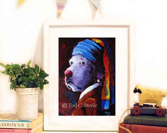 """Lab Painting,  Dog Art Print, Dog Painting, 'Lab with the Pearl Earring', 10x8"""", from Original Painting by Tod C Steele"""