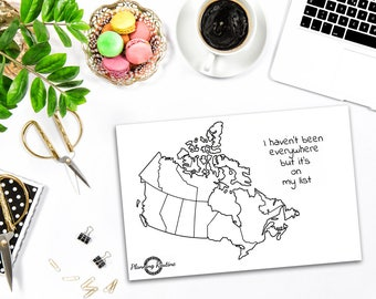 Canada Planner Sticker, Map of Canada, Map of the world, Travel Tracker