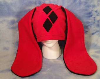 Harley Quinn Bunny Hat Rabbit Ears Diamond Fleece