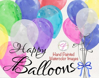 Balloons watercolor Clipart , Balloon bundle, Birthday Clip Art, Balloons Clipart, Party clipart