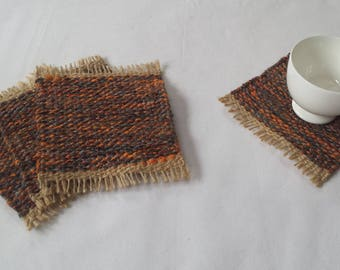 Mug Rugs, upcycled handwoven coasters, orange, grey, brown and beige drink coaster gift set