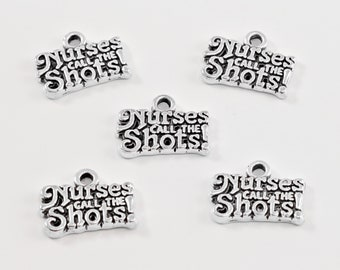 Nurses Call the Shots Antique Silver Tone Charms... Lot of Five... Nurse Charms.. Career Charms..
