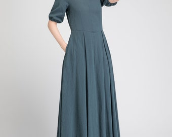 linen summer dress, casual dress long, maxi dress, womens dresses, green dress, custom dress, elegant dress, fitted dress, V neck dress 1884
