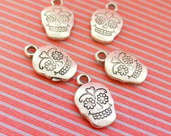 Day of the Dead sugar skull silver tone charms set of 5