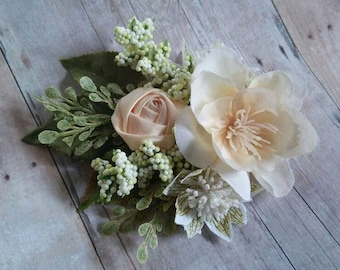Ivory flower clip-  ready to ship,flower girl clip, bridal clip, prom clip,photo prop
