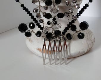 Black and silver crystal hair comb