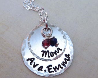 Mother Necklace with Birthstones Sterling Silver - Custom Name Hand Stamped Jewelry - Mothers Day Gift - Mommy Necklace - Grandma Gift - S60