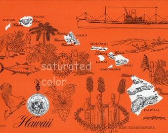 Hawaii Map - ORIGINAL Vintage 1960s Picture Map - Fun Retro Colors - Kauai Oahu Molokai Lanai Maui Kahoolawe Keaau Hilo Souvenir