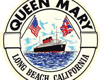 Vintage Style RMS Queen Mary  Long Beach CA California   Travel Decal sticker