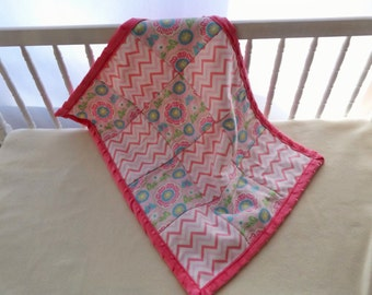 Medallions and Butterflies Print with Minky Baby and Toddler Quilt, Security Blanket - Lovey - Cradle, Carseat, Stroller, Travel