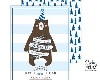 Bear Birthday Invitation / Cub Birthday Invite / Woodland Birthday Invite / Modern Forest Tree Invite / Boy Birthday Invite / *Digital file