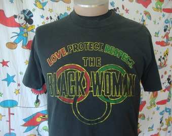 Vintage Love Protect Respect The BLACK WOMAN History Month Rap Hip Hop Juneteenth T Shirt Sz L