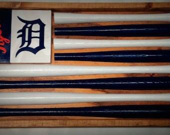 Detroit Tigers Baseball Bat Flag