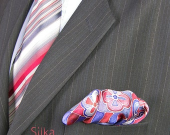 Silk pocket square blue hand painted silk red pocket square wedding Groomsmen gifts handkerchief mens accesories