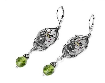 Steampunk Jewelry Earrings Silver ART DECO Watch PERIDOT Crystal Dangle Earrings, August Birthstone Mothers Day Gift - Jewelry by edmdesigns
