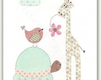 Baby Girl Nursery Art, Nursery Elephant Decor, Wall Art Print, Pink, Aqua -  Gift for friends - PRINT