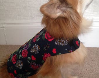 Sugar skull floral small dogs coat