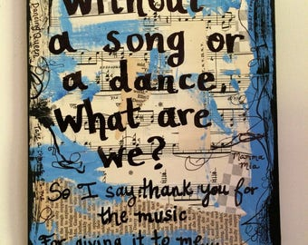 Merveilleux Mamma Mia Music Movie Book Broadway Art Painting ABBA Musical Theatre  Theater Gift Quote Mixed Media