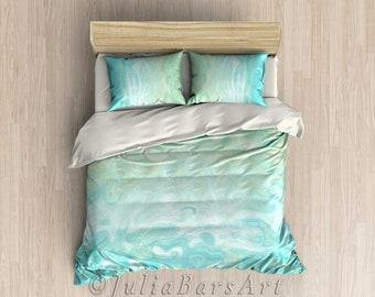 Aqua Blue Duvet Cover or Comforter Set, Mint Green Bedding Set, Art Duvet Cover Queen Bedding King, Twin, Pillow Shams, Pillows Cases