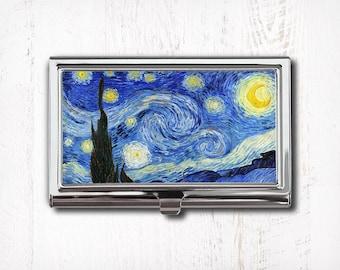 Van Gogh Starry Night Business Card Case, Business Card Holder, Card Case, Card Holder, Starry Night Painting, Vincent Van Gogh, Star Night
